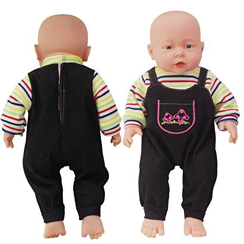 (Rifi Baby Doll's Clothes Denim Pants Shirt Jumpsuit Set Blue Stripes for 14 -16 inches Dolls)