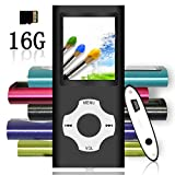 Tomameri - Portable MP3 / MP4 Player with Rhombic Button, Including a 16 GB Micro SD Card and Support up to 32GB, Compact Music & Video Player, Photo Viewer, Video and Voice Recorder Supported - Black