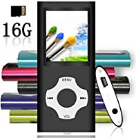Tomameri - Compact and Portable MP3 / MP4 Player with Rhombic Button, Photo Viewer, Video, FM Radio and Voice Recorder Supported, Comes with a 16GB Micro SD Card, Supporting Up to 32GB - Black