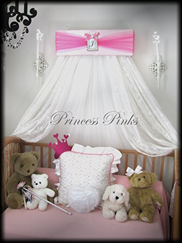 Princess Bed Canopy Crown Pink and Hot Pink FREE Initial Valance Upholstered By SoZoeyBoutique by So Zoey Boutique