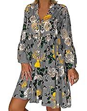 Vestido Corto Bohemio para Mujer Vestido Suelto Informal de Manga Larga con Cuello en V Tallas Grandes