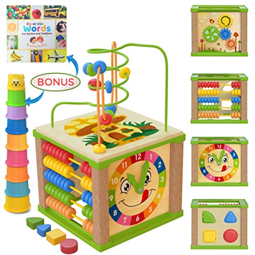 Spunky Kinder Wooden Kids Baby Activity Cube - Boys Gift Set | One 1, 2 Year Old Boy Gifts Toys | Developmental Toddler Educational Wooden Baby Learning Boy Toys 12-18 Months | Bead Maze (Blue Box)