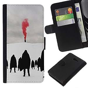 KLONGSHOP // Tirón de la caja Cartera de cuero con ranuras para tarjetas - Red Metal Blood Goth Invierno Oscuro - Sony Xperia M2 //