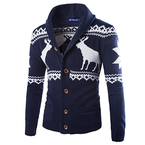 kaifongfu Mens Cardigan Winter Christmas Sweater Xmas Knitwear Coat Jacket Sweatshirt (Dark Gray, L) -