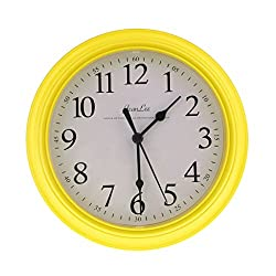 Homyl 9 inch Silent Universal Round Wall Clock - AA Battery Operated - Colorful Analog Clock Great for Home Office Classroom or Garage - Yellow