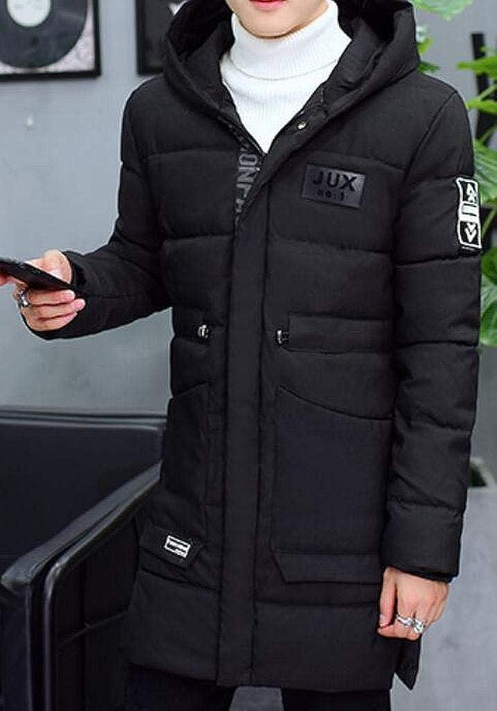 XTX Men Cotton Winter Thicken Zip Up Longline Hoodie Warm Down Coat
