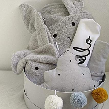 Canastilla bebé ecológica Unisex - Incluye body y pijama 100% algodón, toalla de baño