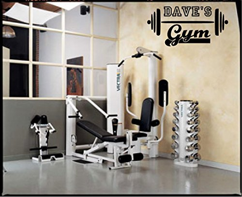 Garage gym name w barbell customized vinyl wall decal