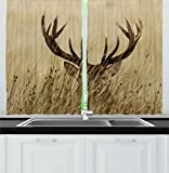 Cheap Ambesonne Antler Decor Kitchen Curtains by, Whitetail Deer Fawn in Wilderness Stag Countryside Rural Hunting Theme, Window Drapes 2 Panel Set for Kitchen Cafe, 55 W X 39 L Inches, Brown Sand Brown
