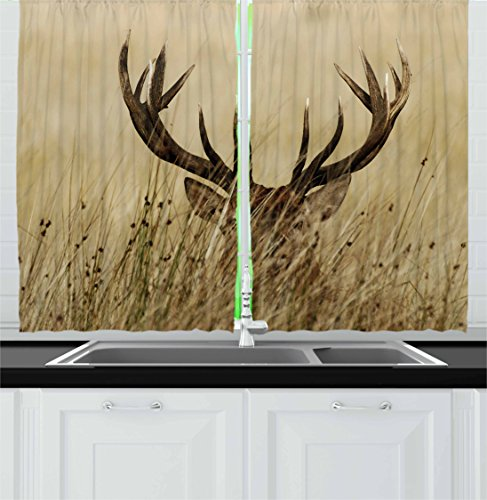Antler Decor Kitchen Curtains by Ambesonne, Whitetail Deer Fawn in Wilderness Stag Countryside Rural Hunting Theme, Window Drapes 2 Panel Set for Kitchen Cafe, 55 W X 39 L Inches, Brown Sand Brown