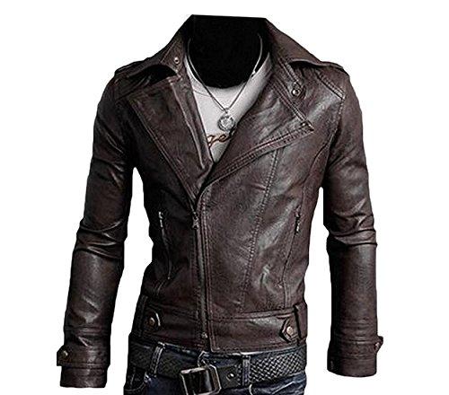 B dressy Men's Ultimate PU Leather Motorcycle Rider Bomber Jacket Sweater Fashion 2US XX-Large