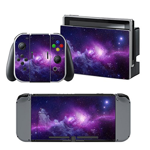 MightyStickers - Purple Galaxy Outer Space Nebula Star Universe Nintendo Switch Vinyl Skin Sticker Decal Wrap Case Cover Console Joy-Con Grip Switch Dock (Wii U Games Lego Star Wars)