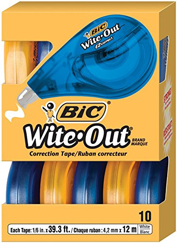 BIC Wite-Out Brand EZ Correct Correction Tape, 10-Count, Whi...