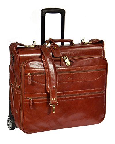 Real Leather Suit Garment Dress Carrier Travel Weekend Bag On Wheels A1236 Cognac - Leather Garment Carrier