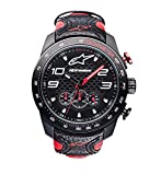 Alpinestars Race Watch, Men's 45 MM Stainless Steel case, 100 Meters Water Resistant, Japanese Movement, Hand Made Genuine Leather Wristband (Black-Red Chrono)