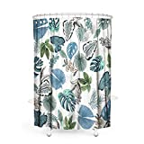 MACOFE Shower Curtain Fabric Shower Curtain Leaf Shower Curtain Mildew Resistant Polyester Fabric, Waterproof, Machine Washable,Hooks Included,Bathroom Decor Original Design Hand Drawing,71x71in