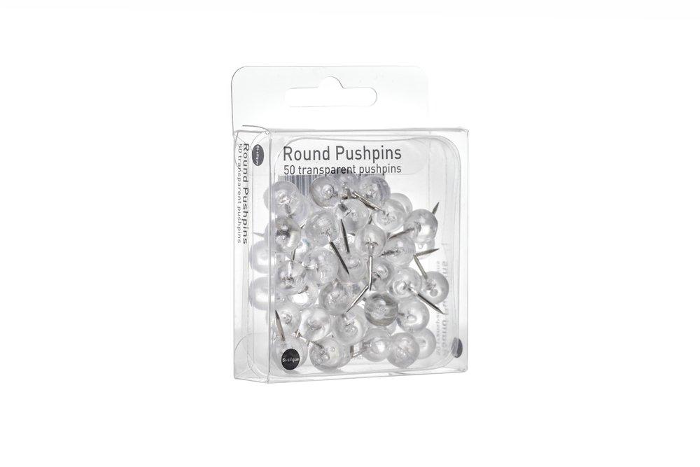 Bi-Office PI1219 Runde Pinnnadeln transparent Metall//Kunststoff
