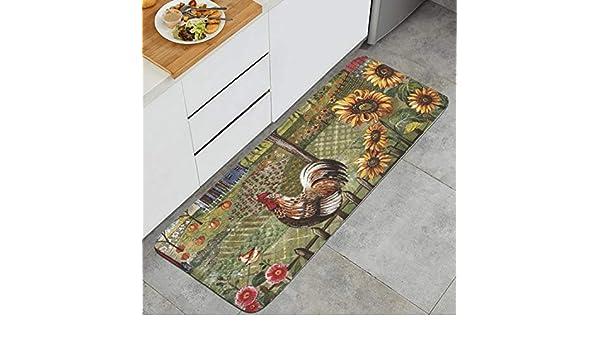 Sunflower and Rooster Anti Fatigue Kitchen Mat Natural Fiber Standing Mat Non-Slip Kitchen Rug