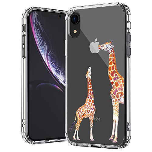 MOSNOVO iPhone XR Case, Clear iPhone XR Case, Cute Giraffe Pattern Clear Design Transparent Plastic Hard Back Case with Soft TPU Bumper Protective Case Cover for Apple iPhone XR