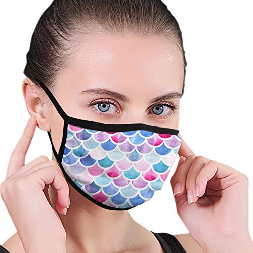 Face Masks Mermaid Scales Prince Mouth Mask Reusable Face Dust Mask Black