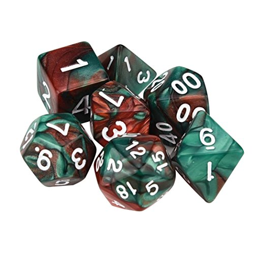 - SUJING 7pcs/Set Multi-Color Dice Set, TRPG Game Dungeons & Dragons Polyhedral D4-D20 Multi Sided Acrylic Dice (B)