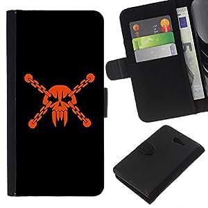 KingStore / Leather Etui en cuir / Sony Xperia M2 / La cabeza del cráneo del pirata de la máscara de vampiro Dientes de Orange