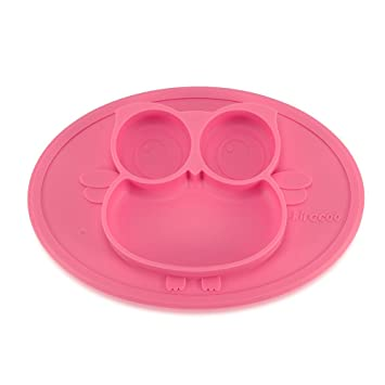 Kirecoo Baby Placemat Owl Round Silicone Suction Plates For Children, Kids,  Toddlers,Kitchen