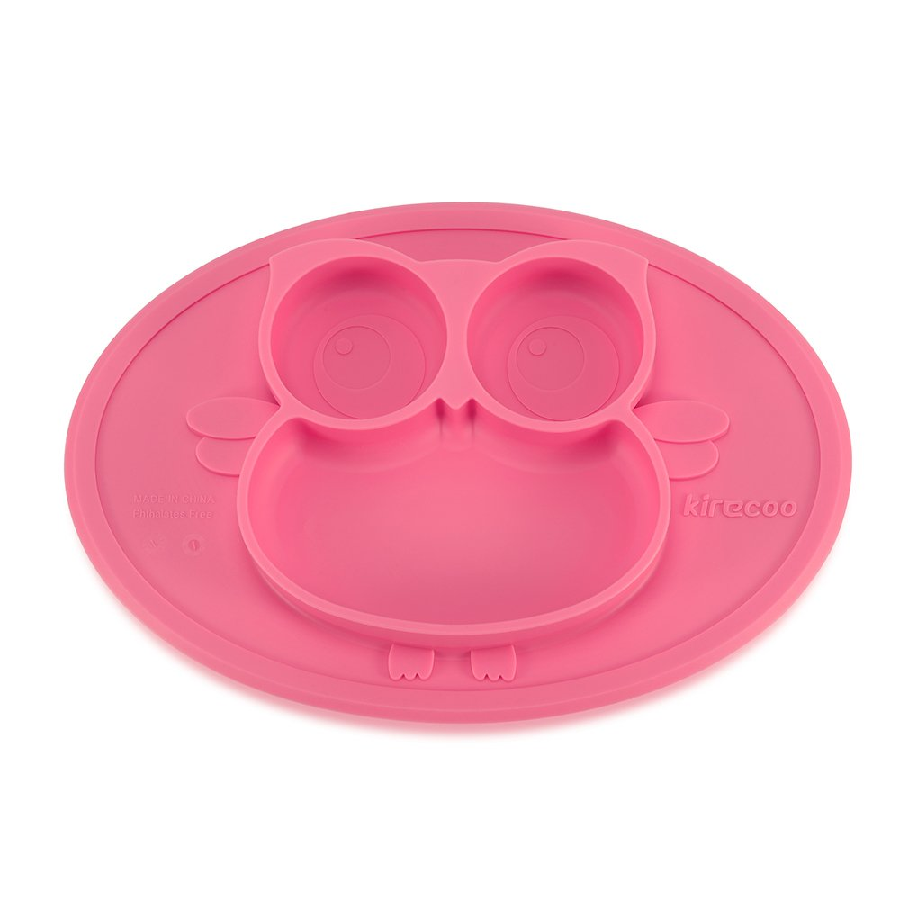 Kirecoo Baby Placemat Owl Round Silicone Suction Feeding Plate for Children, Kids, Toddlers,Kitchen Dining Table,Restaurant with Built in Plates and Bowl (Pink)