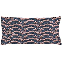 Flowers Throw Pillow Cushion Cover by Ambesonne, Pattern with Magnolia Flowers in Japanese Style Tender Asian Nature Garden, Decorative Square Accent Pillow Case, 36 X 16 Inches, Dark Blue Coral