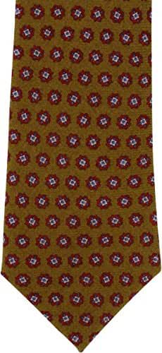 Mustard Floral Neat Wool Tie by Michelsons of London