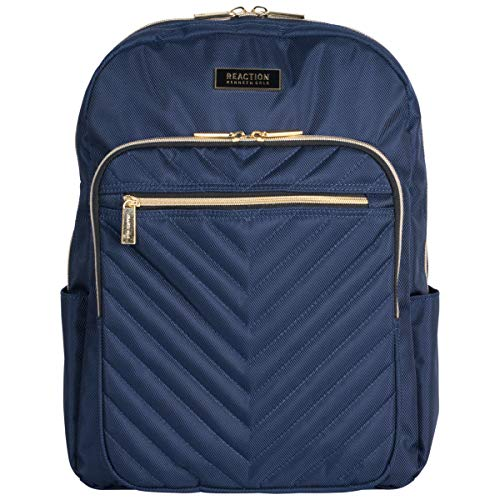 Kenneth Cole Reaction Women's Chevron Quilted Polyester Twill 15.6' Laptop Backpack, Navy, One Size