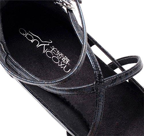 5 Jazz Sandales Pour Latine Chacha md Samba Danse Hauts Talons Noirs5 5cm Salsa fr5 Chaussures De Tango Bout Jshoe Eu38 Rond Femmes Modernes Our39 Paillettes Za8Bq