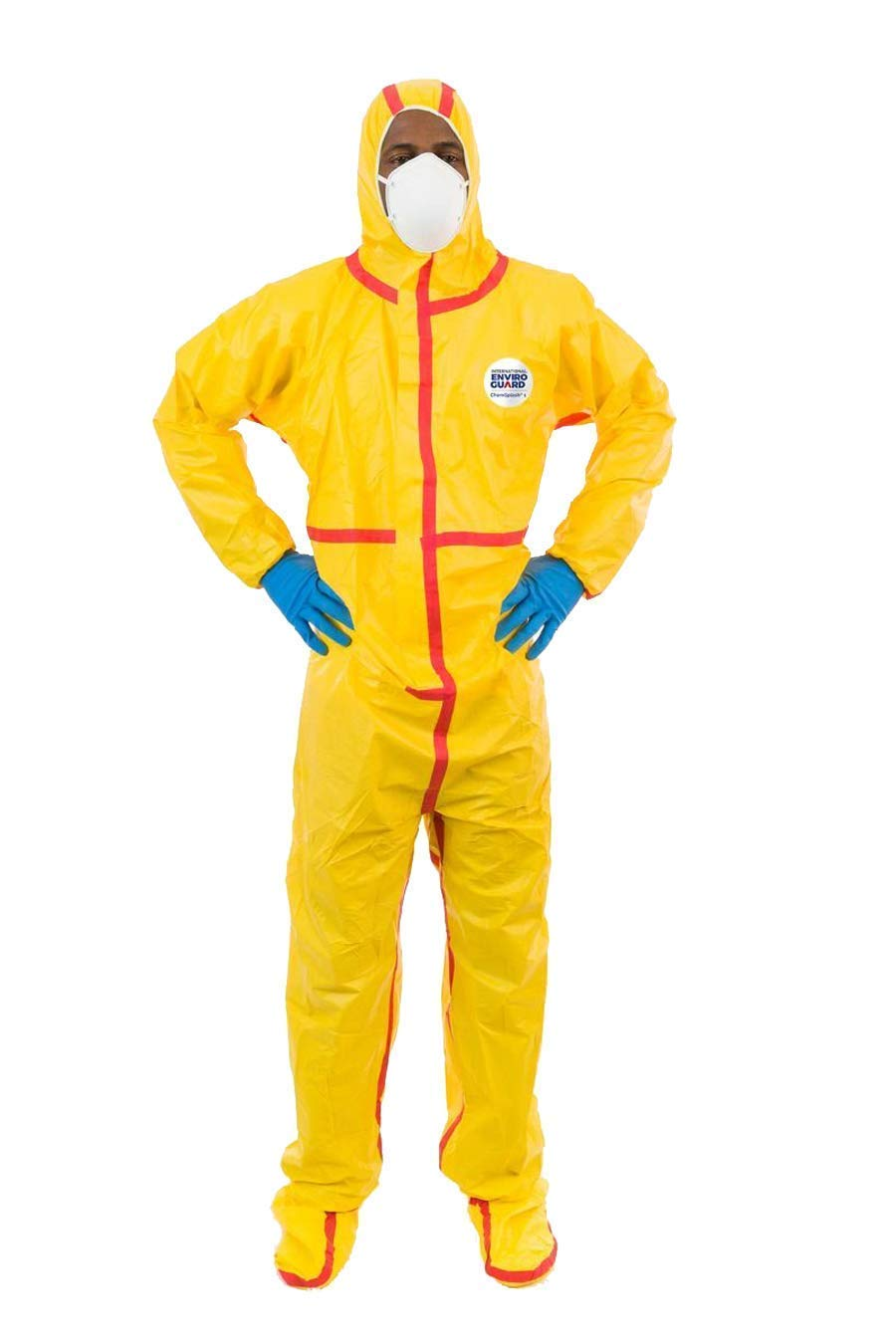 ChemSplash 1 Chemical Splash Taped Seams Protection Suit (Yellow) for Hazmat, Paint, and Light Duty Chemicals (2XL, Hood & Boot, Elastic Wrist) (Case of 6) by CHEMSPLASH