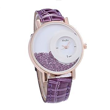 fenkoo Mujer Mode Reloj Quartz PU banda reloj de pulsera Negro/Blanco/Rojo/Naranja/Marrón/lila, morado: Amazon.es: Deportes y aire libre
