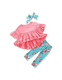 Goodtrade8 Toddler Baby Girl Shot Sleeve Ruffle Top Dress Flower Pants Kids Outfit Clothes Set