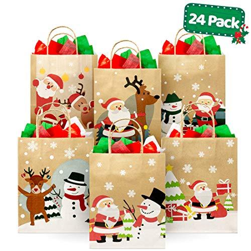Christmas Kraft Gift Bags (24 Piece) Set – Variety Bulk Novelty Assortment Pack – Decoration, Toys Wrap, Xmas Party Favors, Holiday Treats Box, Goody Gift Bags -