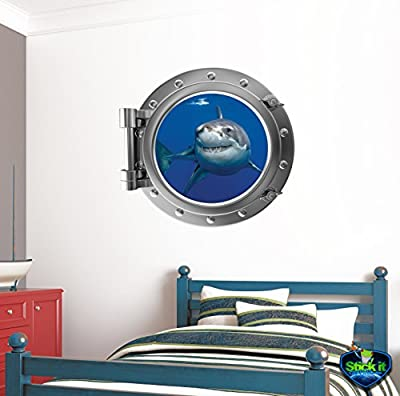 """24"""" Port Scape Instant Sea Window View SHARK #1 SILVER Port Hole Porthole Portal Removable Wall Graphic Great White Decal Sticker Mural Home Kids Game Room Art Decor NEW"""