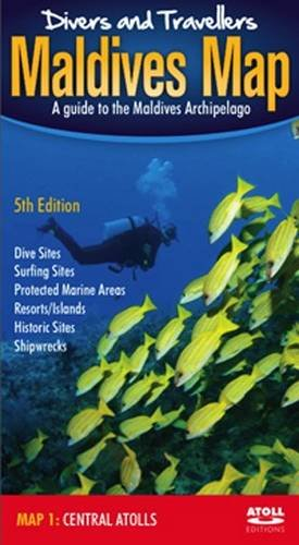 Divers' and Travellers' Maldives Map: Central Atolls (English, German, Chinese and Japanese...