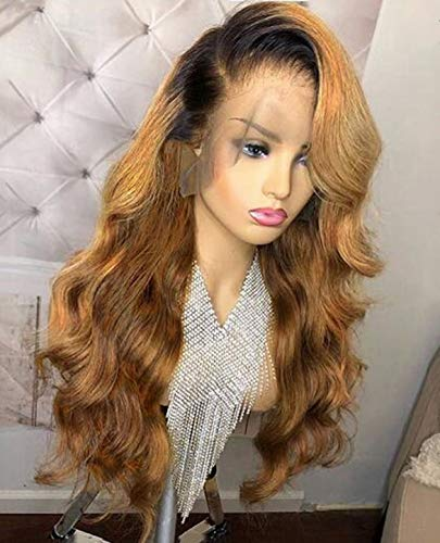 - 13x6 Lace Front human hair wigs Brazilian Virgin Human Hair Body Wave Ombre 1B/27 Glueless Human Hair Wigs for Women 150% Density (16 inch 150% density,lace front wig)
