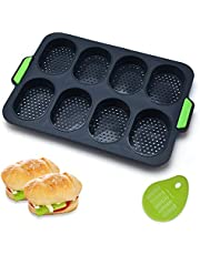 Mini Baguette Baking Tray, Non-Stick Perforated Pan with 1 Silicone Pastry Dough Cutter, Bread Crisping Tray, 8-Cavities Loaf Baking Mould Perfect for FrenchBread, Breadstick & Rolls