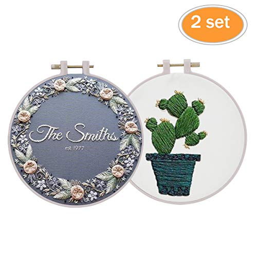 2 Set of Handmade Embroidery Starter Kit with Partten Cross Stitch Kit Including Embroidery Cloth,Bamboo Embroidery Hoop, Color Threads, and Tools Kit for Beginner