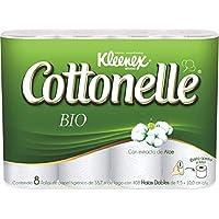 Kleenex Cottonelle Papel Higiénico Bio Compact, 408 Hojas Dobles, 8 Piezas