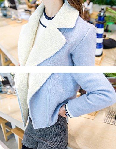 Casual YAANCUN Calido Mujeres Chaqueta Corto de Cielo Abrigo Sólido Moda Invierno Chaqueta de Outwear Azul fwCrqxPfA