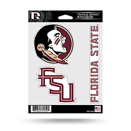 Rico Industries NCAA Florida State Seminoles Die Cut 3-Piece Triple Spirit Sticker Sheet