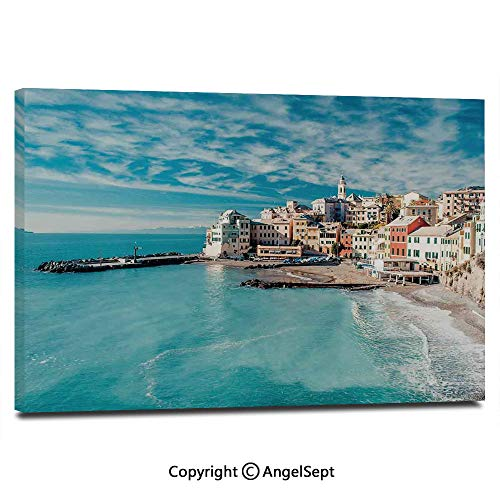 Wall Art Decor High Definition Panorama of Old Italian Fish Village Beach Old Province Coastal Charm Image Painting Home Decoration Living Room Bedroom Background,16