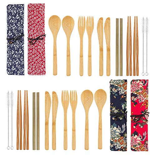 4 Pack Bamboo Cutlery Set | Flatware Set | Reusable Portable Utensils Travel Cutlery Set (Bags, Forks, Knives, Chopsticks, Spoons,Straws and Brushes) for Camping and BBQ