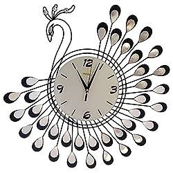 Peacock Silent Living Room Kitchen Large Clock (BLACK)