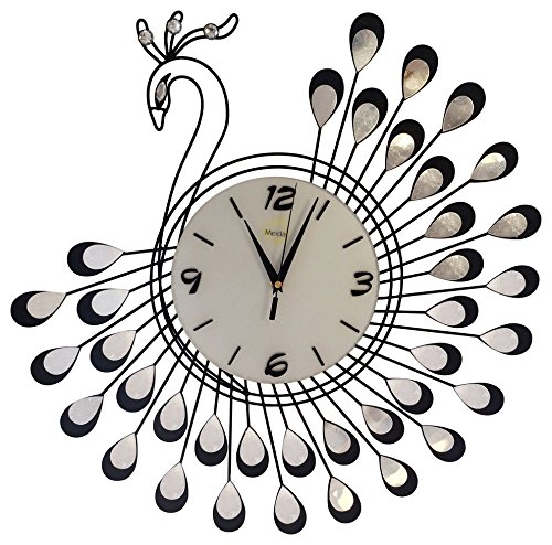 Peacock Silent Living Room Kitchen Large Clock (BLACK)