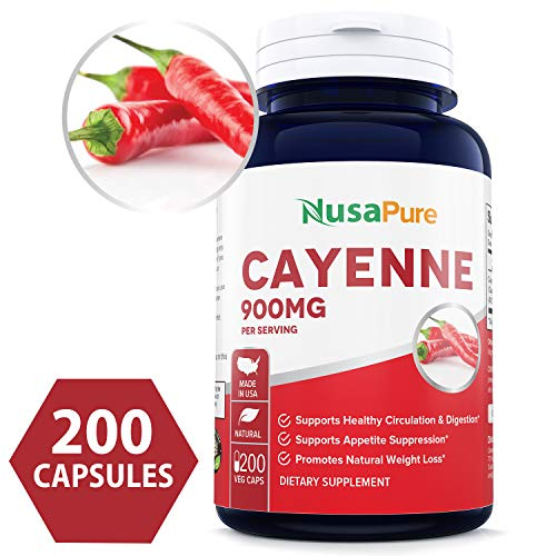 Cayenne Pepper 900mg 200 Veggie Capsules (Non-GMO & Gluten Free) - Aids Weight Loss, Protects Against Gastric Ulcers, Boosts Circulation & Suppresses Appetite ★100% Money Back -