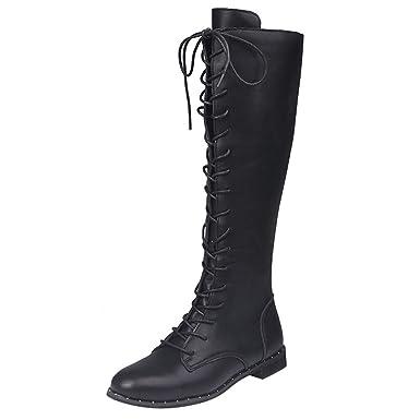 ❤ Botas largas Mujer de Cuero, con Cordones Botas Altas con Punta Redonda Sobre los Zapatos Planos de la Rodilla Botas Absolute: Amazon.es: Ropa y ...